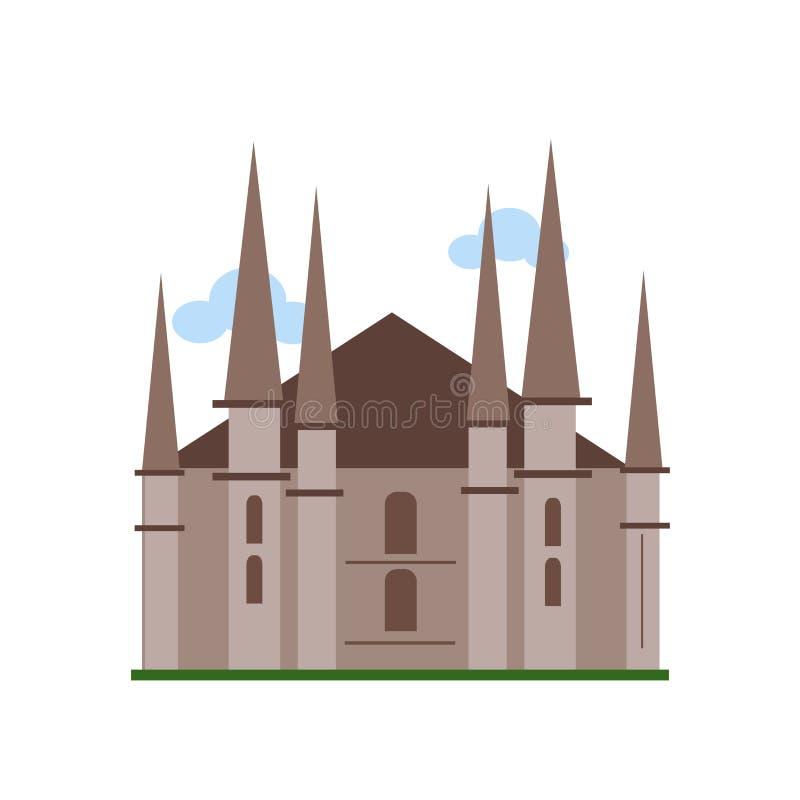 Muestra y símbolo del vector del icono de la catedral de Milán aislados en los vagos blancos stock de ilustración