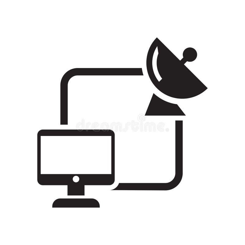 Muestra y símbolo del vector del icono de la conexión por satélite aislados en el fondo blanco, concepto del logotipo de la conex libre illustration