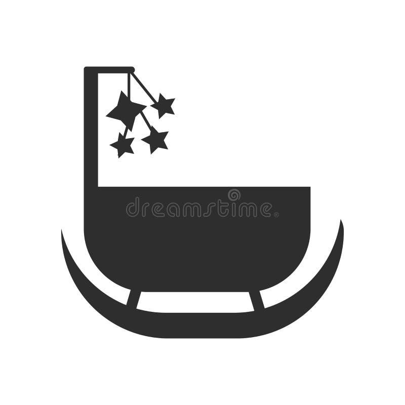 Muestra y símbolo del vector del icono de la cuna aislados en el fondo blanco, concepto del logotipo de la cuna ilustración del vector