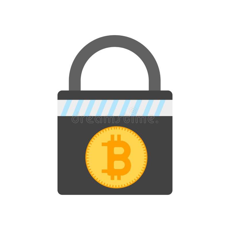 Muestra y símbolo del vector del icono de la encripción de Bitcoin aislados en el fondo blanco, concepto del logotipo de la encri ilustración del vector