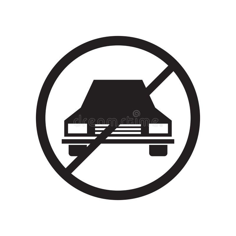 Muestra y símbolo del vector del icono de la muestra del estacionamiento prohibido aislados en el fondo blanco, concepto del logo ilustración del vector