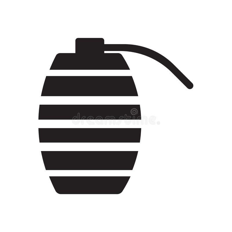 Muestra y símbolo del vector del icono de la granada aislados en el fondo blanco ilustración del vector