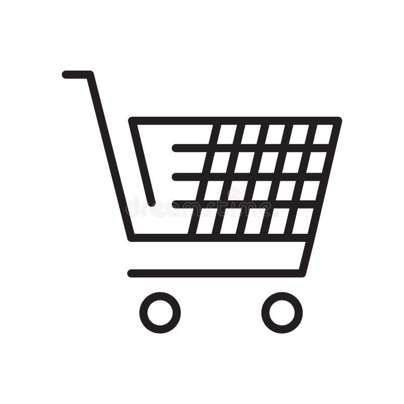 Muestra y símbolo del vector del icono de la herramienta del carro de la compra del comercio electrónico aislados en el fondo bla ilustración del vector