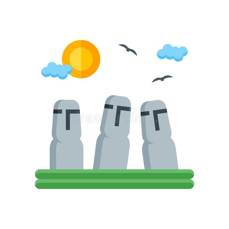 Muestra y símbolo del vector del icono de la isla de pascua aislados en la parte posterior blanca libre illustration