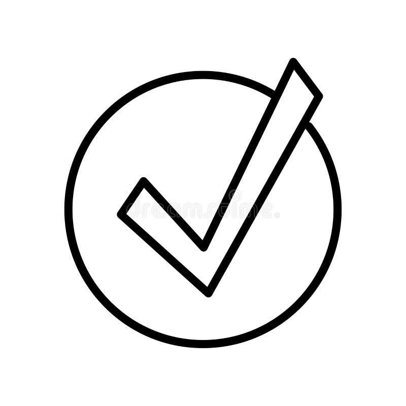 Muestra y símbolo del vector del icono de la marca de verificación aislados en el backgro blanco stock de ilustración