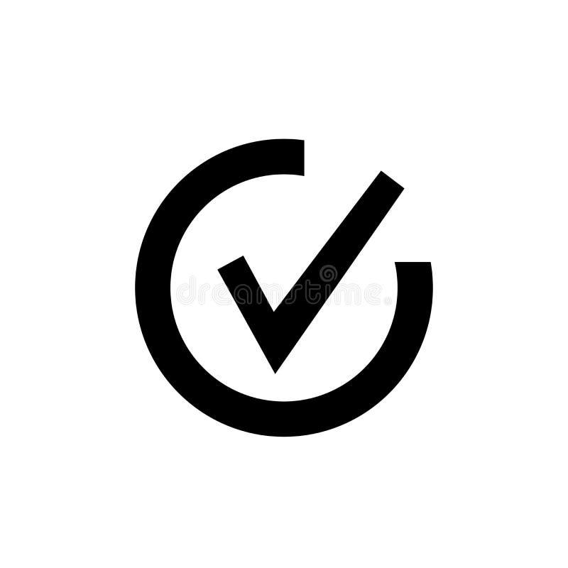 Muestra y símbolo del vector del icono de la marca de verificación aislados en el fondo blanco, concepto del logotipo de la marca libre illustration