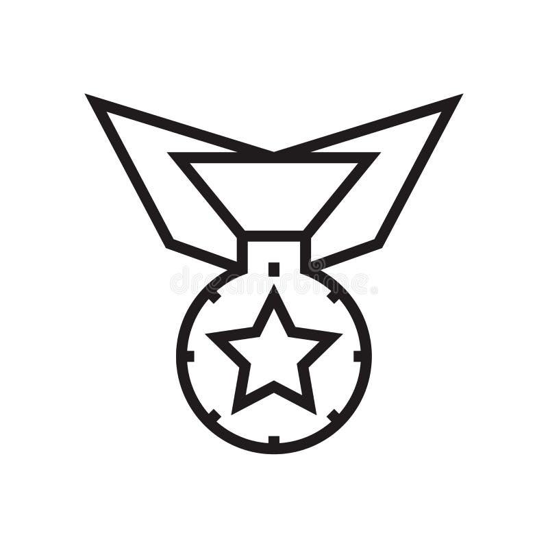 Muestra y símbolo del vector del icono de la medalla aislados en el fondo blanco, concepto del logotipo de la medalla ilustración del vector