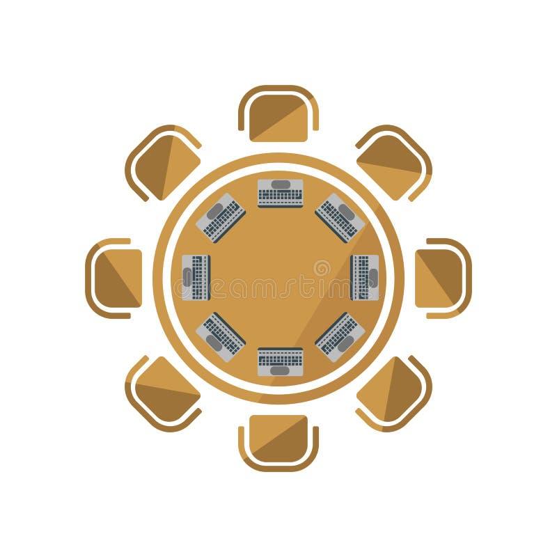 Muestra y símbolo del vector del icono de la mesa redonda aislados en el backgr blanco libre illustration