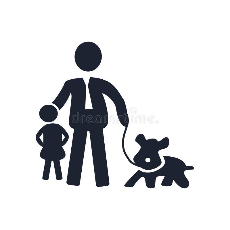 Muestra y símbolo del vector del icono de la muchacha y del perro del hombre aislados en b blanco ilustración del vector
