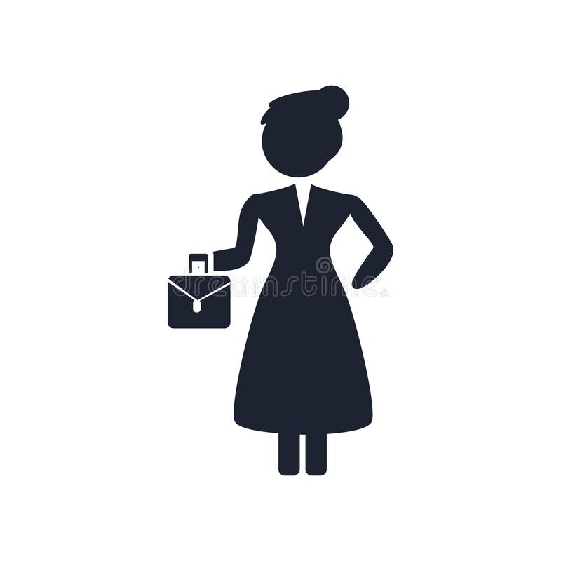 Muestra y símbolo del vector del icono de la mujer mayor aislados en el backgrou blanco stock de ilustración
