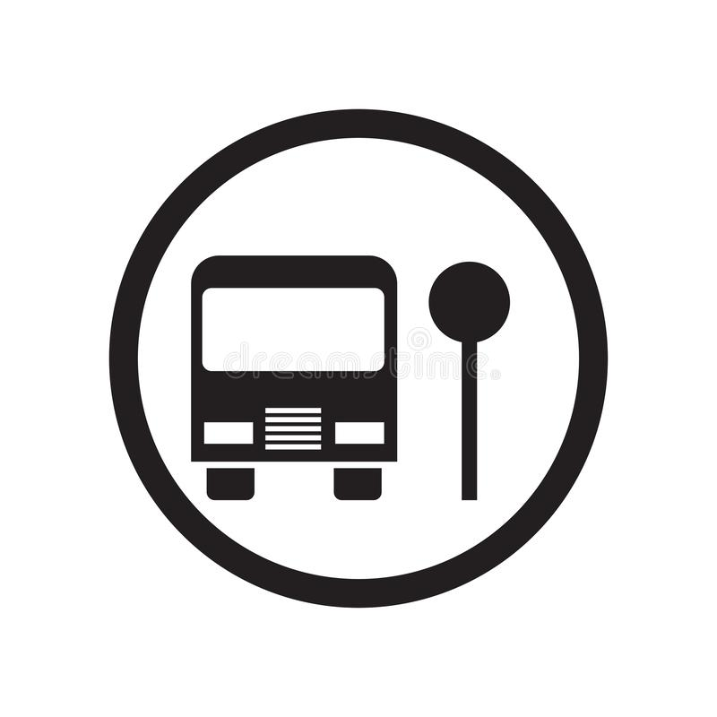Muestra y símbolo del vector del icono de la parada de autobús escolar aislados en el fondo blanco, concepto del logotipo de la p libre illustration