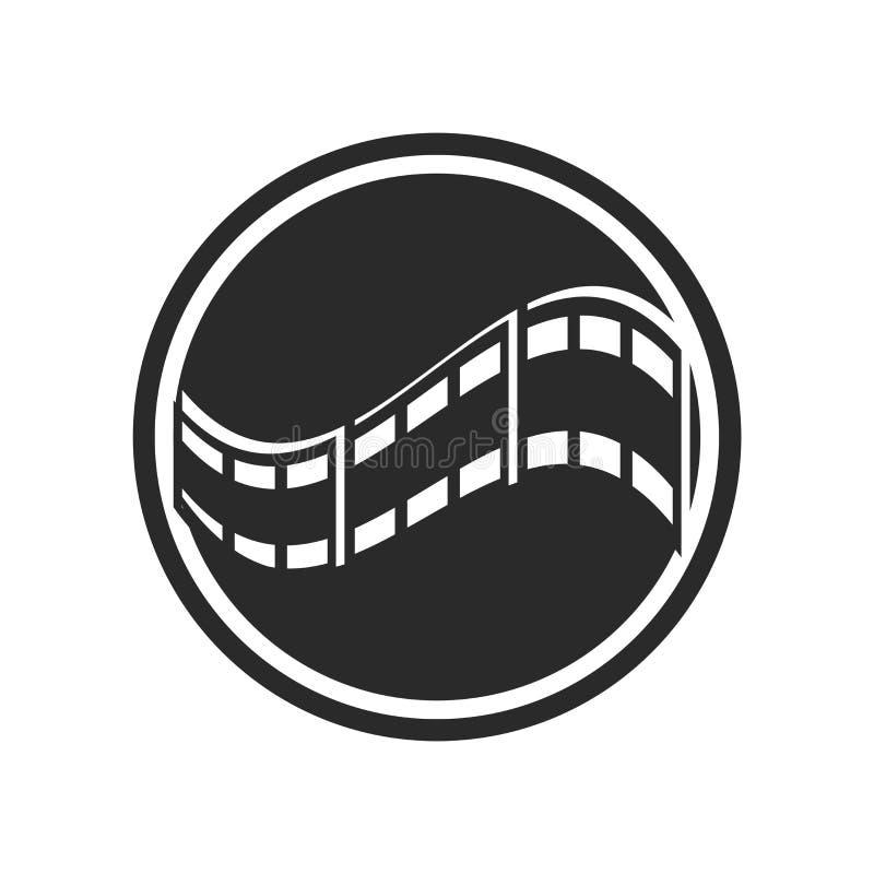 Muestra y símbolo del vector del icono de la película aislados en el fondo blanco, concepto del logotipo de la película stock de ilustración