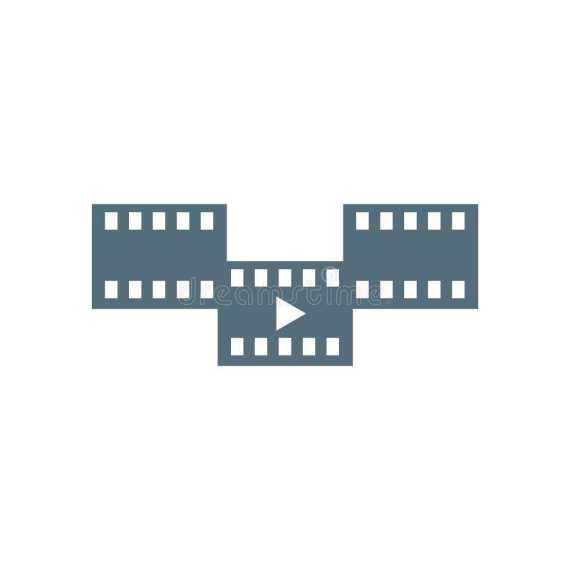 Muestra y símbolo del vector del icono de la película aislados en el fondo blanco, concepto del logotipo de la película libre illustration