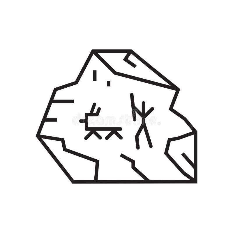 Muestra y símbolo del vector del icono de la pintura de cuevas aislados en la parte posterior blanca ilustración del vector