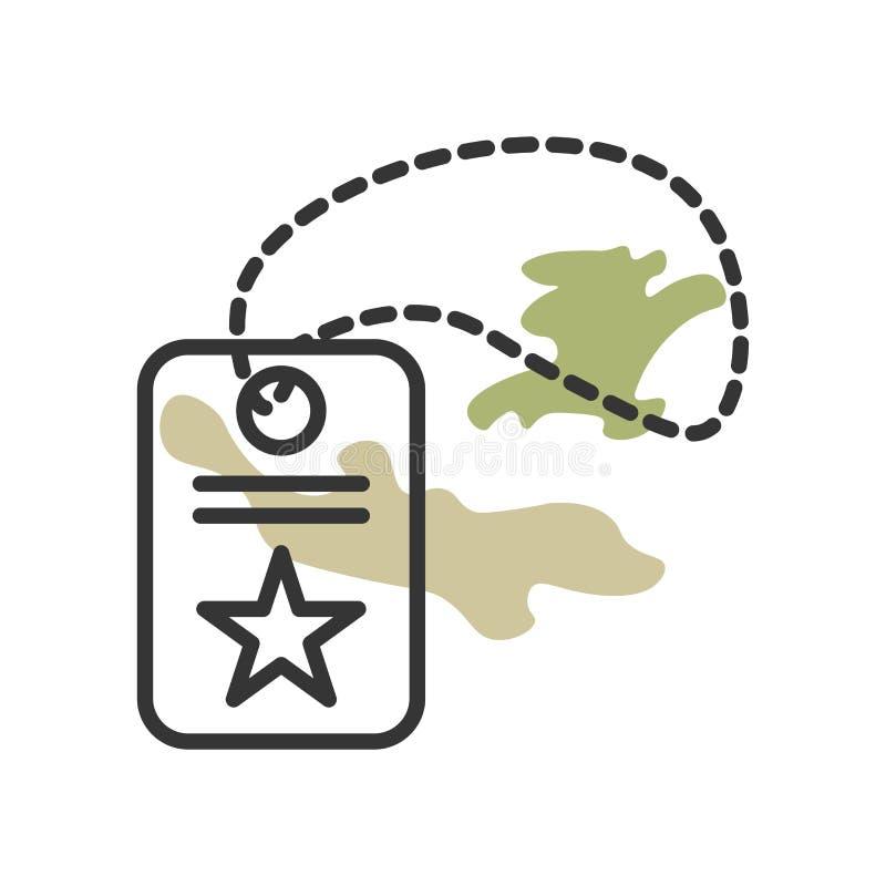 Muestra y símbolo del vector del icono de la placa de identificación aislados en el fondo blanco, concepto del logotipo de la pla stock de ilustración