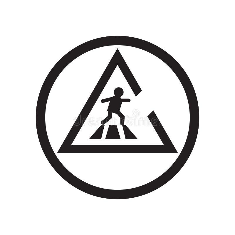 Muestra y símbolo del vector del icono de la precaución del camino que cruzan aislados en el fondo blanco, concepto del logotipo  ilustración del vector