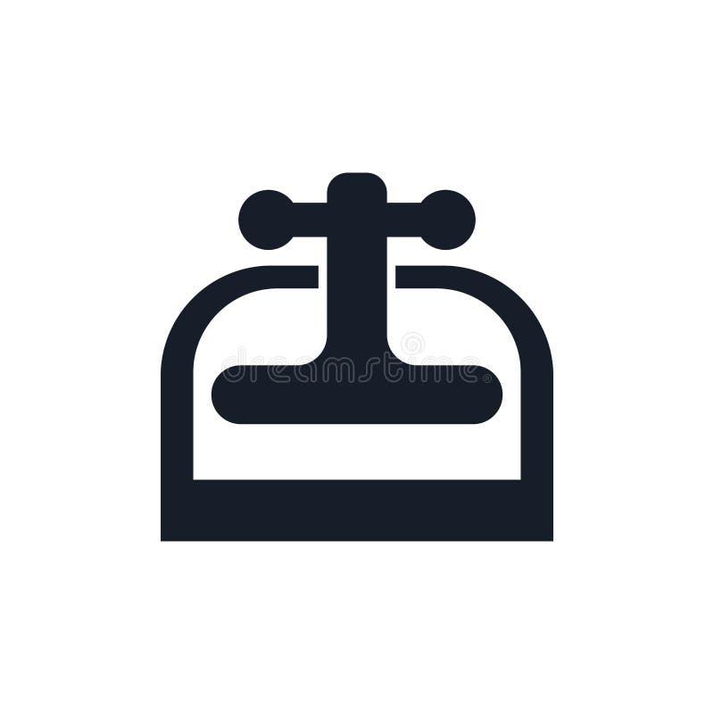 Muestra y símbolo del vector del icono de la prensa de la máquina aislados en el fondo blanco, concepto del logotipo de la prensa ilustración del vector
