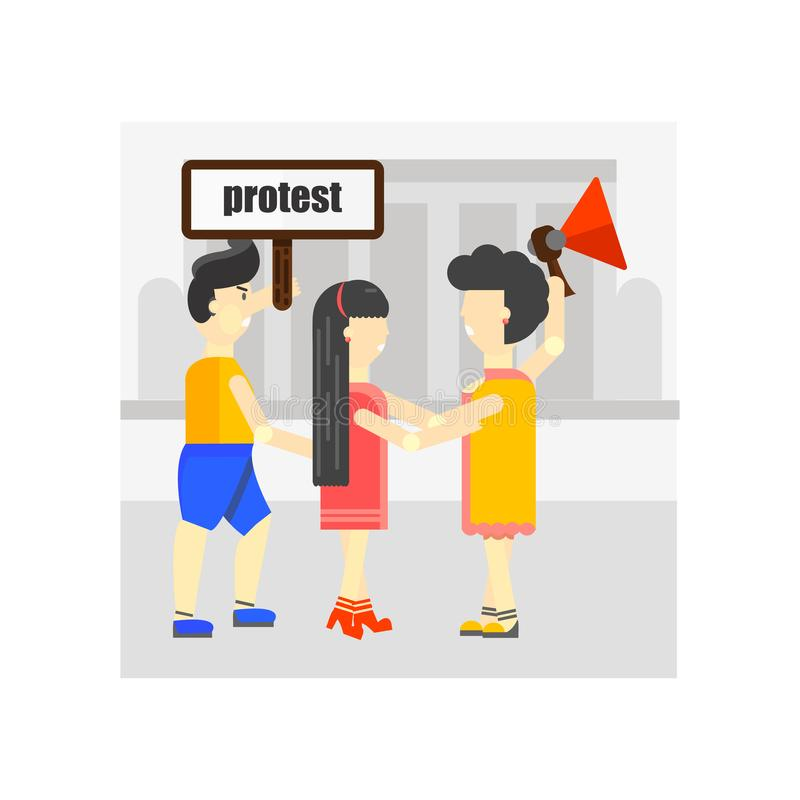 Muestra y símbolo del vector del icono de la protesta aislados en el fondo blanco, concepto del logotipo de la protesta ilustración del vector