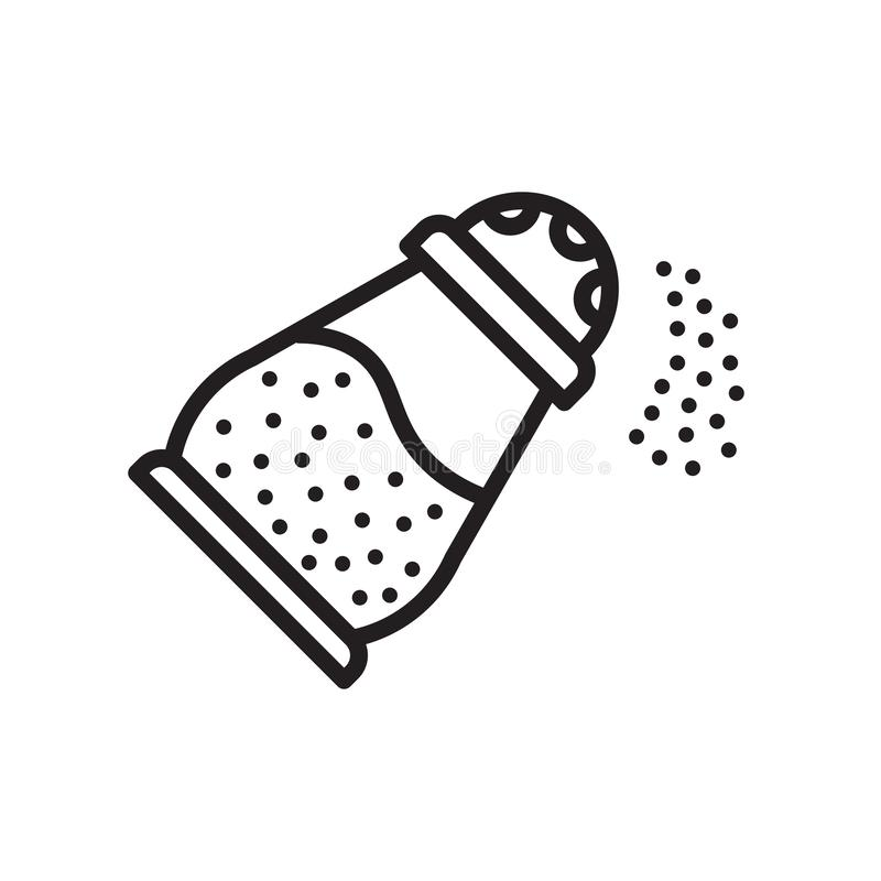 Muestra y símbolo del vector del icono de la sal aislados en el fondo blanco, S stock de ilustración