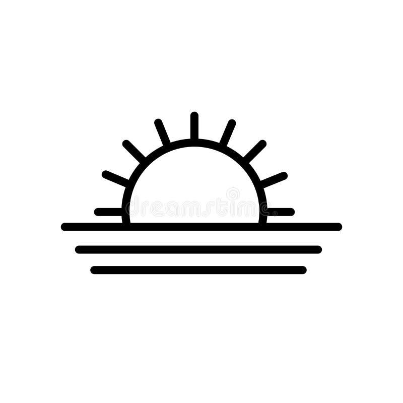 Muestra y símbolo del vector del icono de la salida del sol aislados en el fondo blanco, concepto del logotipo de la salida del s ilustración del vector