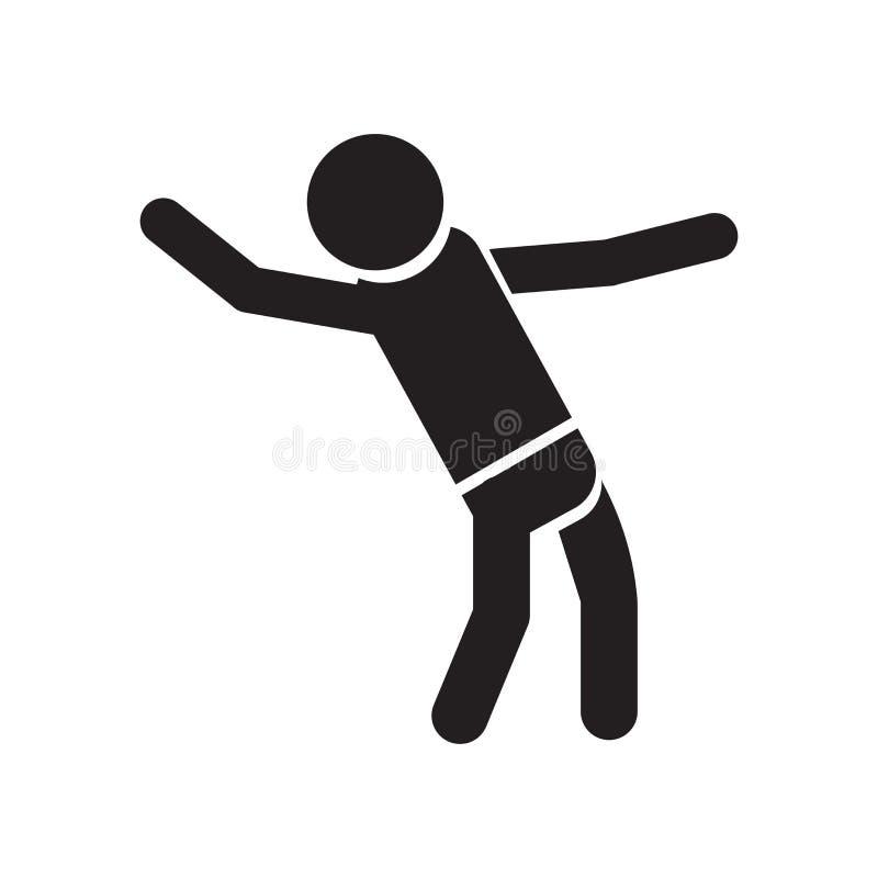 Muestra y símbolo del vector del icono de la silueta del baile del hombre aislados en el fondo blanco, concepto del logotipo de l stock de ilustración