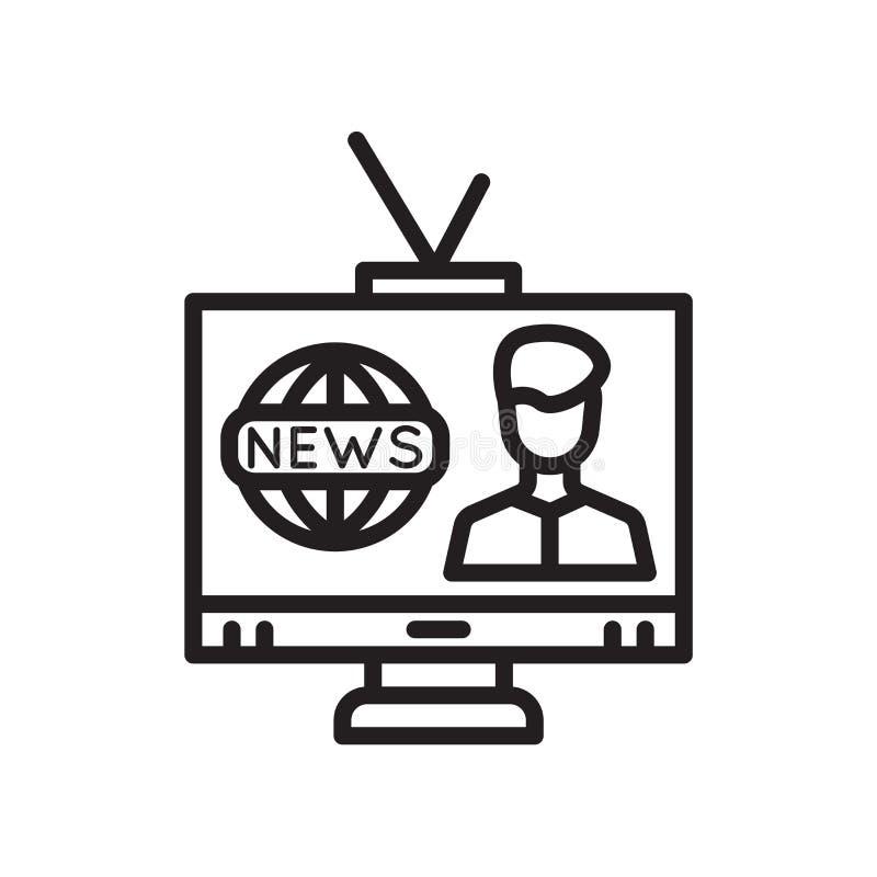 Muestra y símbolo del vector del icono de la televisión aislados en el fondo blanco, concepto del logotipo de la televisión stock de ilustración