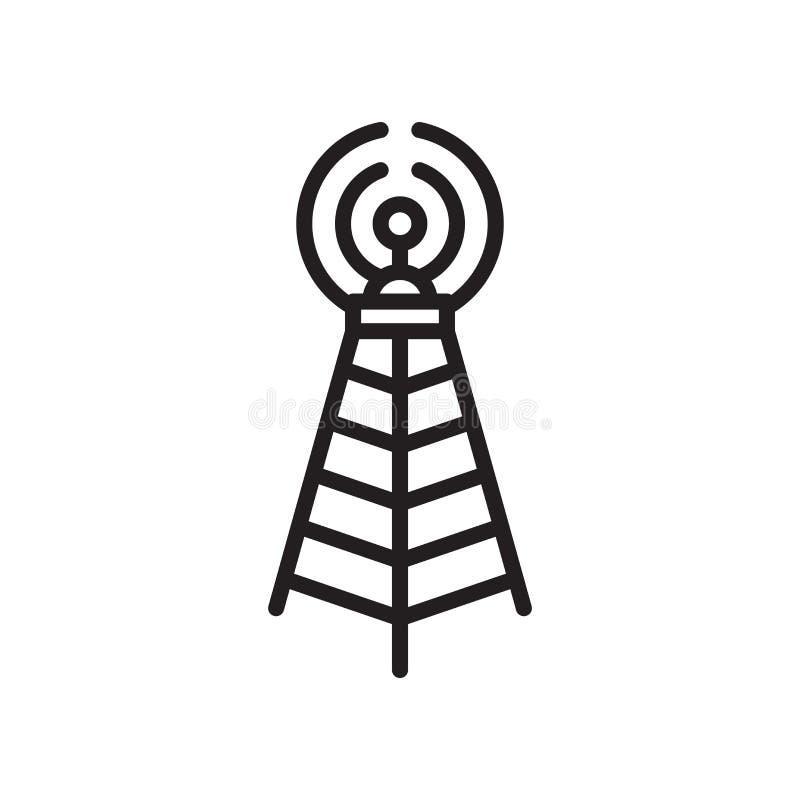 Muestra y símbolo del vector del icono de la torre de comunicaciones de difusión aislados en el fondo blanco, logotipo de la torr stock de ilustración