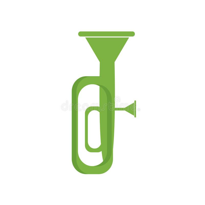 Muestra y símbolo del vector del icono de la tuba aislados en el fondo blanco, T ilustración del vector