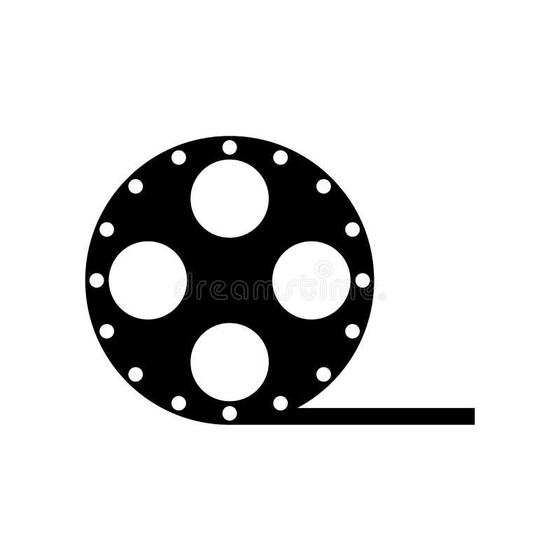 Muestra y símbolo del vector del icono de la vista lateral del carrete de película aislados en pizca stock de ilustración