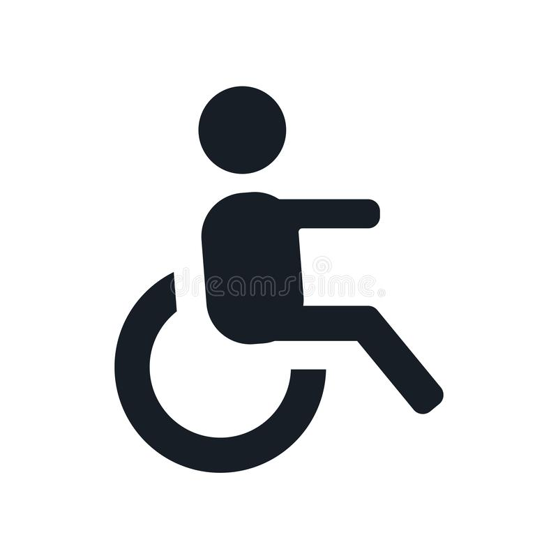 Muestra y símbolo del vector del icono de la vista lateral de la silla de ruedas aislados en el fondo blanco, concepto del logoti ilustración del vector