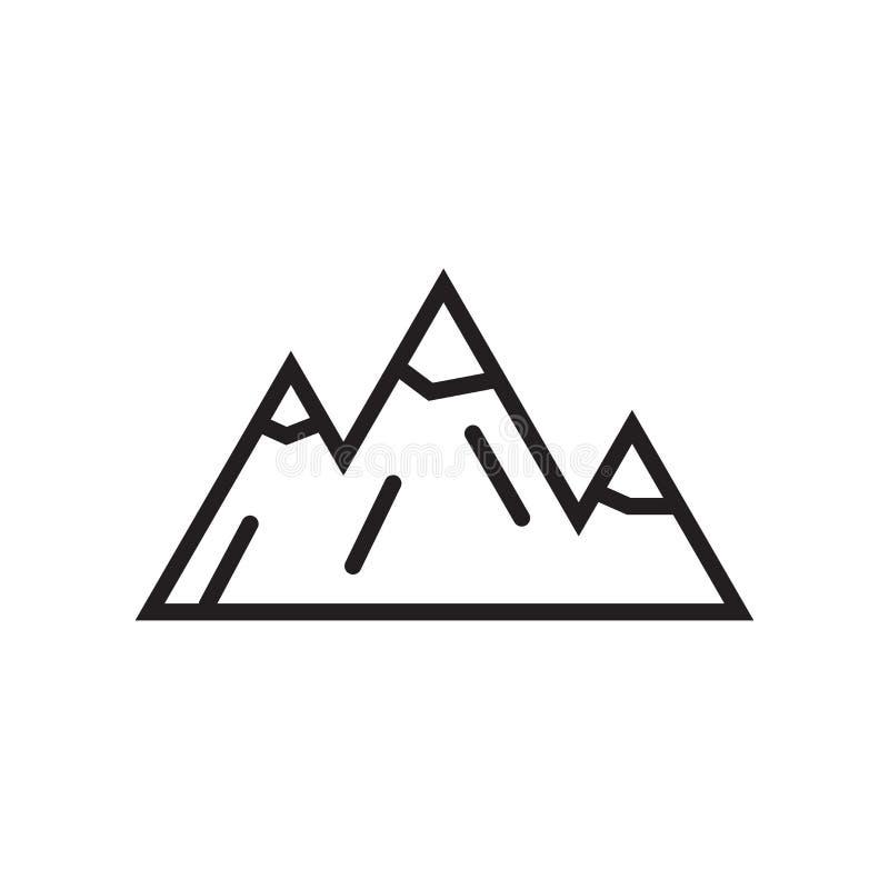 Muestra y símbolo del vector del icono de las montañas aislados en el backgrou blanco ilustración del vector