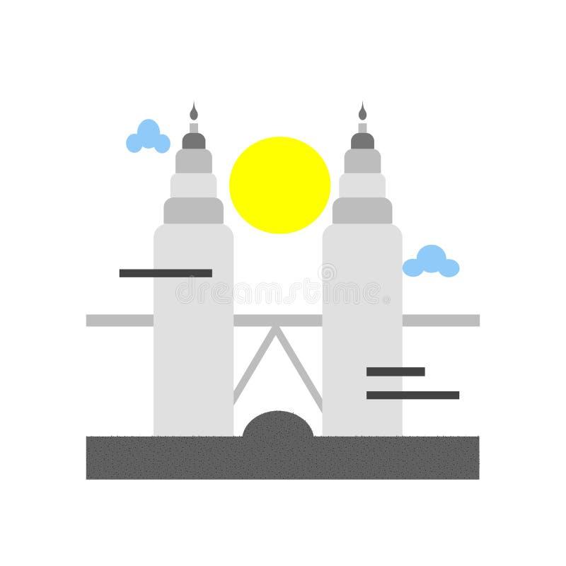 Muestra y símbolo del vector del icono de las torres de Petronas aislados en los vagos blancos libre illustration