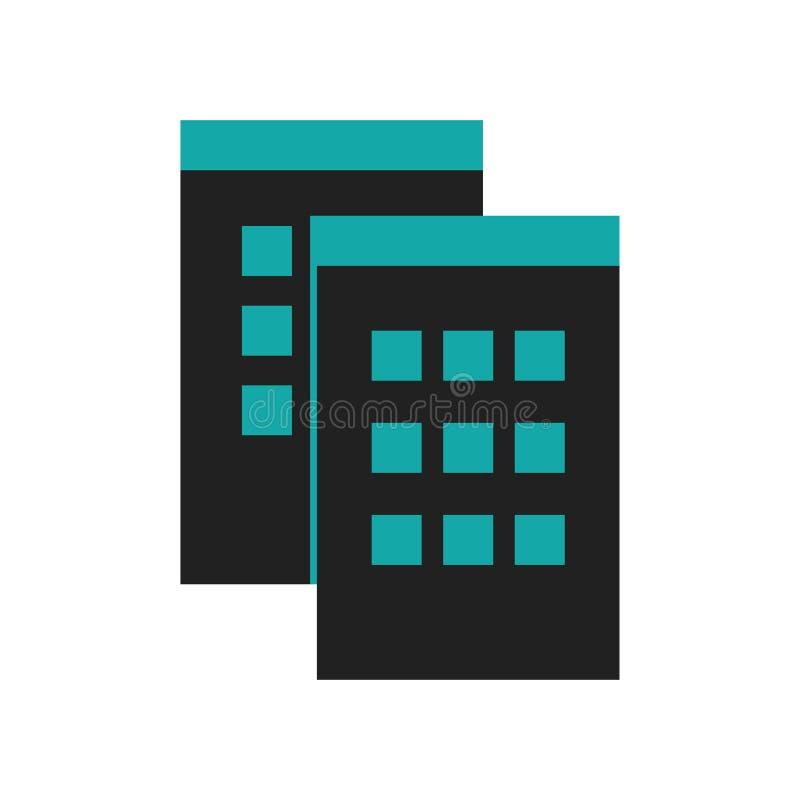 Muestra y símbolo del vector del icono del símbolo de las ventanas de los datos aislados en el fondo blanco, concepto del logotip stock de ilustración