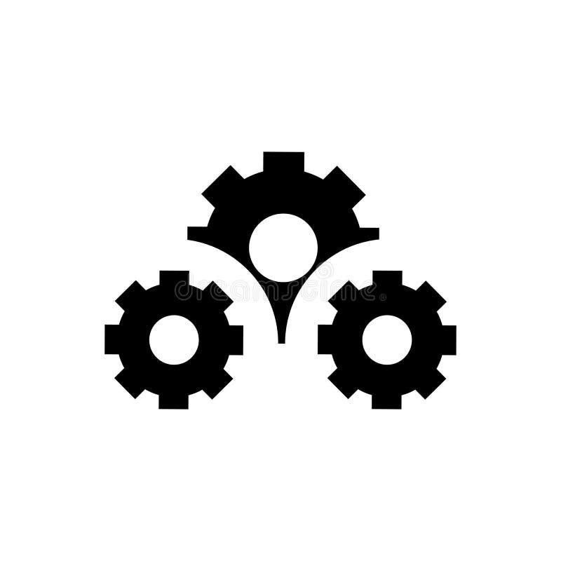 Muestra y símbolo del vector del icono de los engranajes de los ajustes aislados en el fondo blanco, concepto del logotipo de los libre illustration