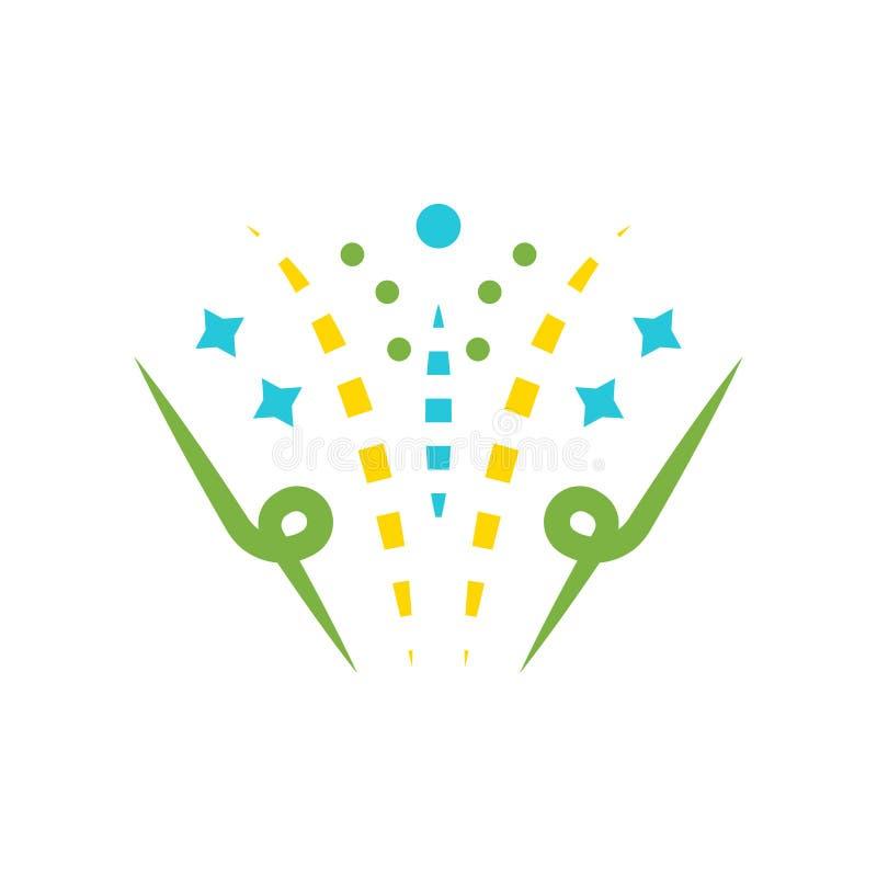 Muestra y símbolo del vector del icono de los fuegos artificiales aislados en el backgrou blanco ilustración del vector