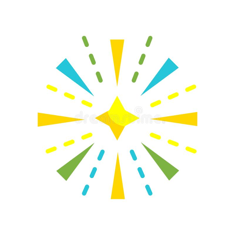 Muestra y símbolo del vector del icono de los fuegos artificiales aislados en el backgrou blanco stock de ilustración