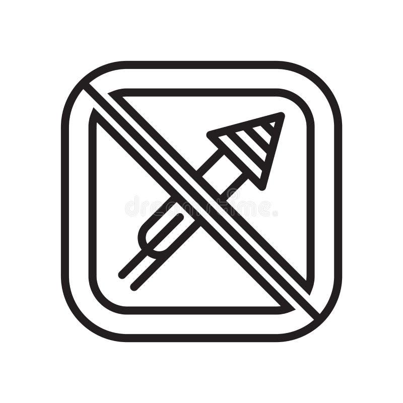 Muestra y símbolo del vector del icono de los fuegos artificiales aislados en el fondo blanco, concepto del logotipo de los fuego stock de ilustración