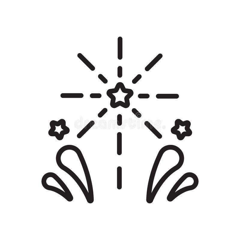 Muestra y símbolo del vector del icono de los fuegos artificiales aislados en el fondo blanco, concepto del logotipo de los fuego libre illustration