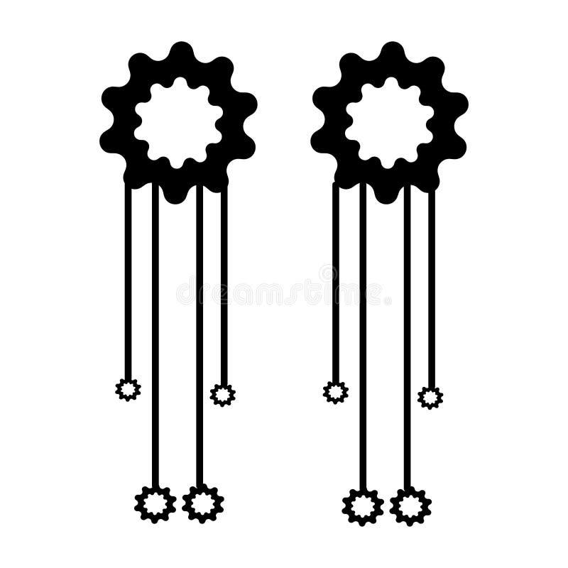 Muestra y símbolo del vector del icono de los pendientes que cuelgan aislados en el fondo blanco, concepto del logotipo de los pe ilustración del vector