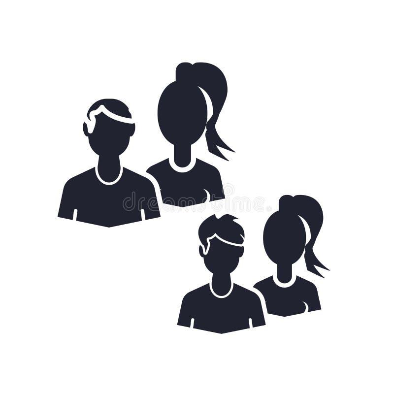 Muestra y símbolo del vector del icono de los usuarios aislados en el fondo blanco, concepto del logotipo de los usuarios libre illustration