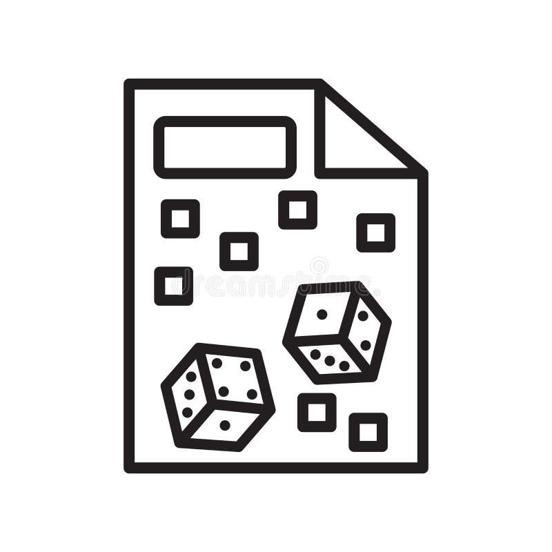 Muestra y símbolo del vector del icono de Yahtzee aislados en el fondo blanco ilustración del vector
