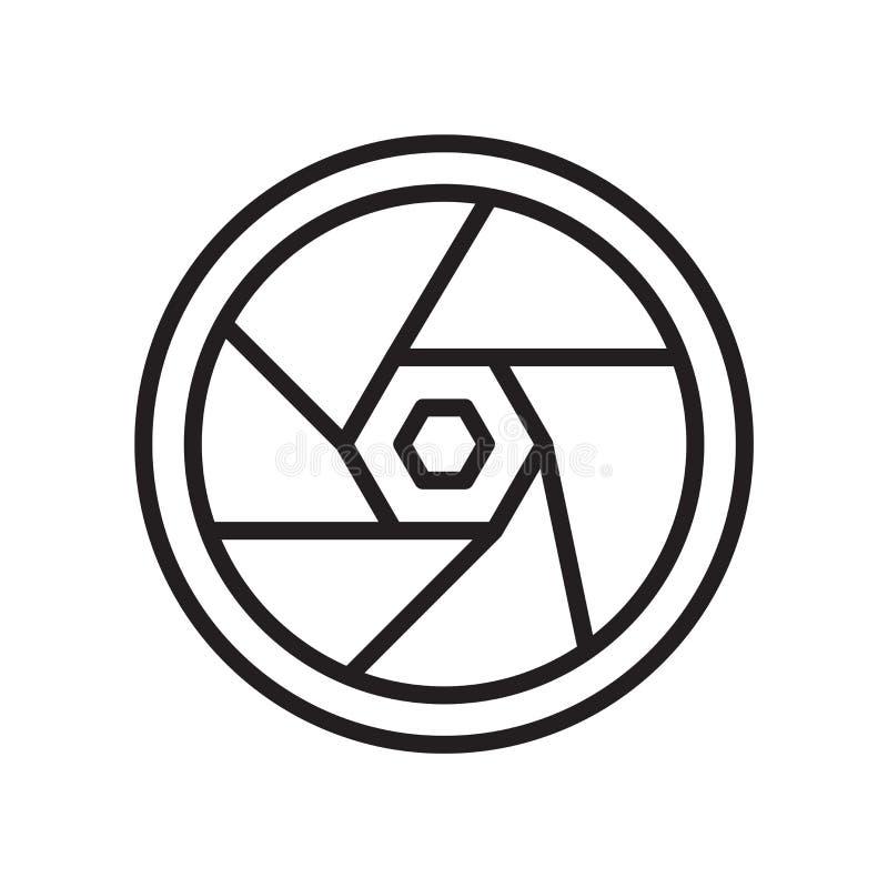 Muestra y símbolo del vector del icono del diafragma aislados en el fondo blanco, concepto del logotipo del diafragma stock de ilustración