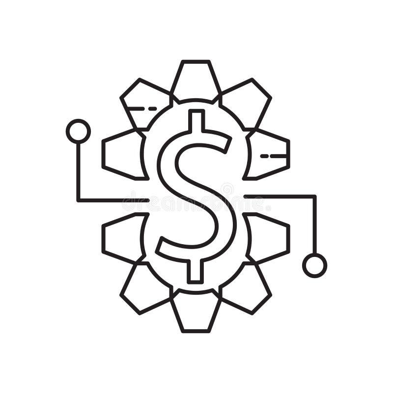 Muestra y símbolo del vector del icono del dinero aislados en el fondo blanco, concepto del logotipo del dinero ilustración del vector