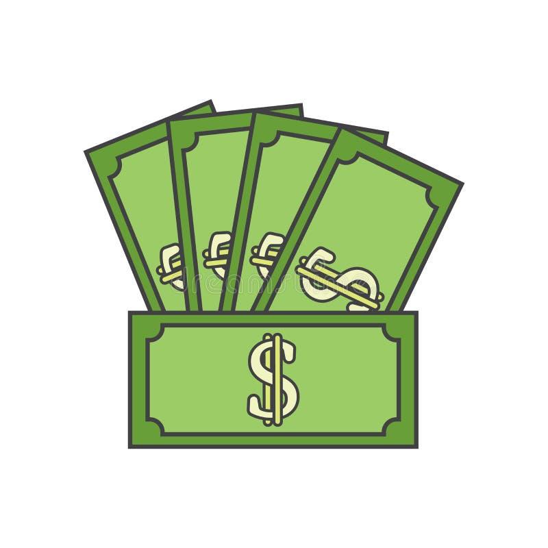 Muestra y símbolo del vector del icono del dinero aislados en el fondo blanco, concepto del logotipo del dinero libre illustration