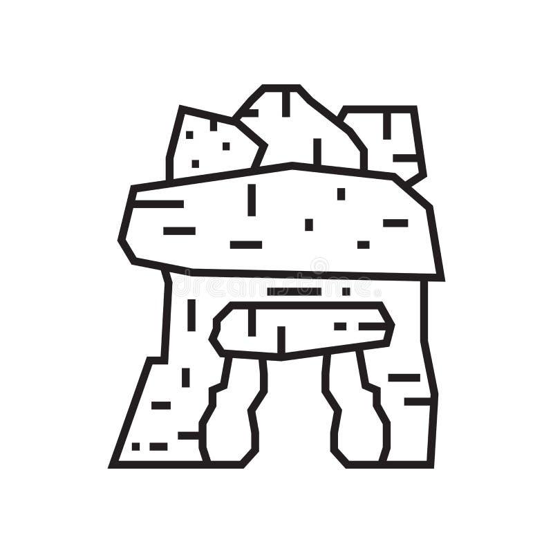 Muestra y símbolo del vector del icono del dolmen aislados en el fondo blanco libre illustration