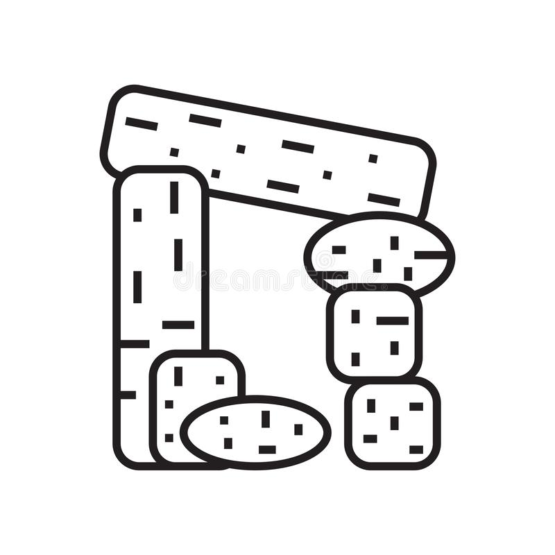 Muestra y símbolo del vector del icono del dolmen aislados en el fondo blanco ilustración del vector