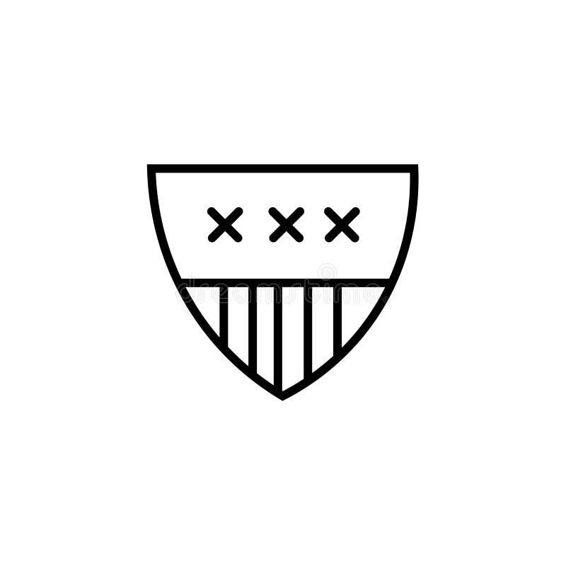 Muestra y símbolo del vector del icono del emblema del fútbol americano aislados en el fondo blanco, concepto del logotipo del em libre illustration