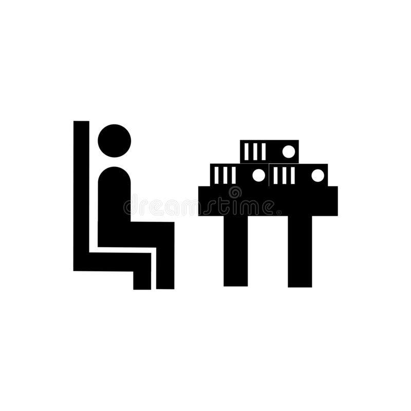Muestra y símbolo del vector del icono del estudiante y de los libros aislados en el concepto blanco del fondo, del logotipo del  stock de ilustración
