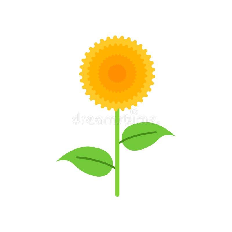 Muestra y símbolo del vector del icono del girasol aislados en el backgrou blanco stock de ilustración