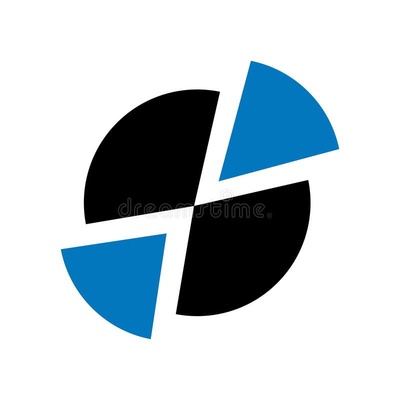 Muestra y símbolo del vector del icono del gráfico de sectores aislados en el fondo blanco, concepto del logotipo del gráfico de  stock de ilustración